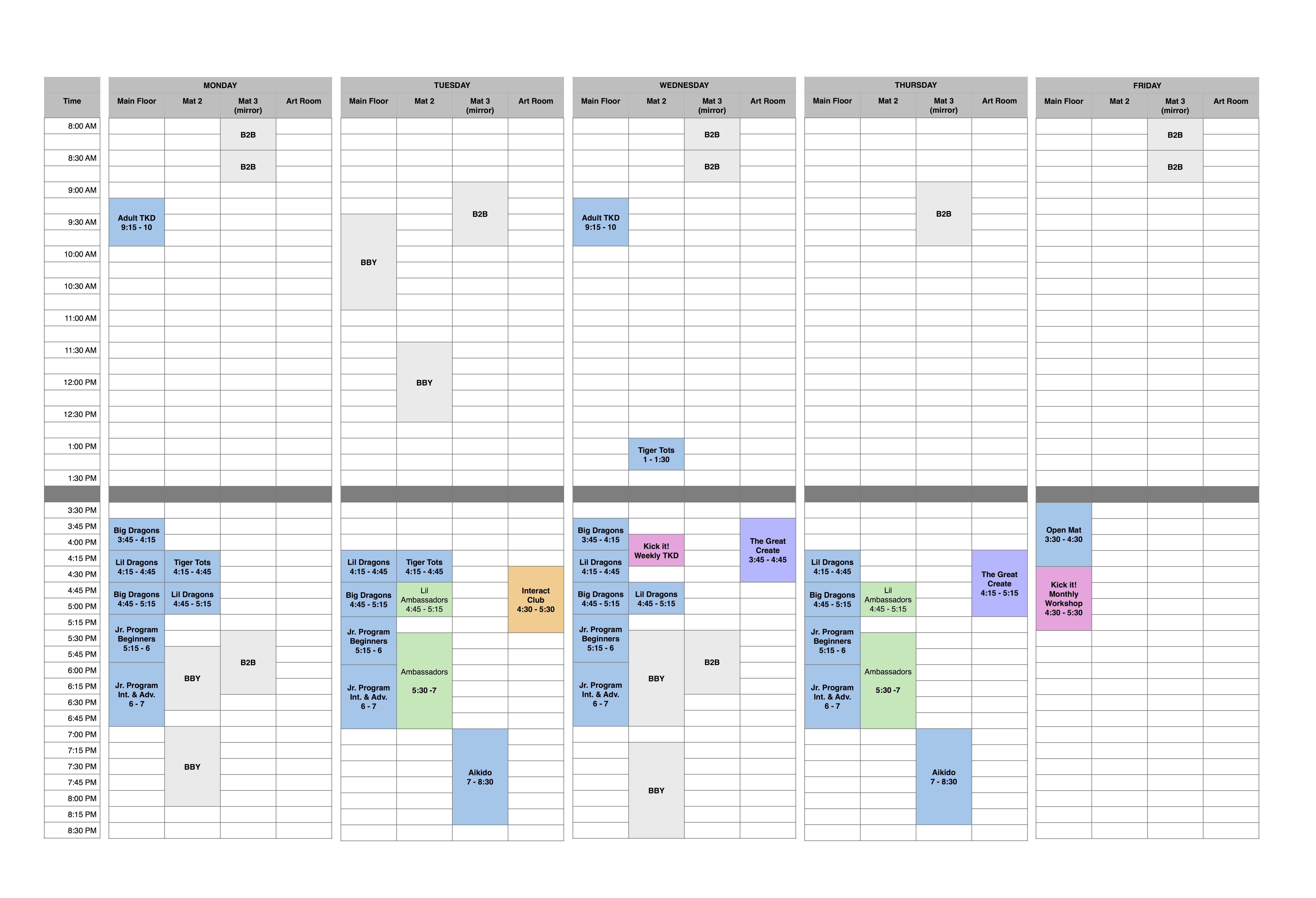 Studio schedule